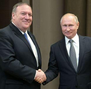 Le Président Poutine et Mike Pompeo à Sotchi le 14 mai 2019
