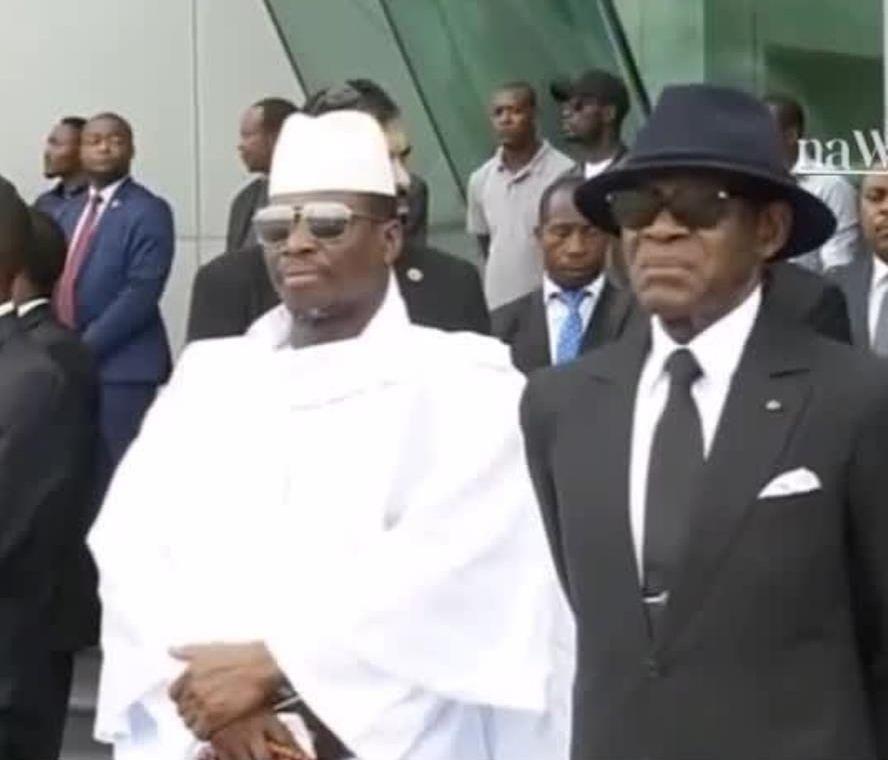Yahya Jammeh et Obiang Nguema à Mongomo, le 11 mai 2019.