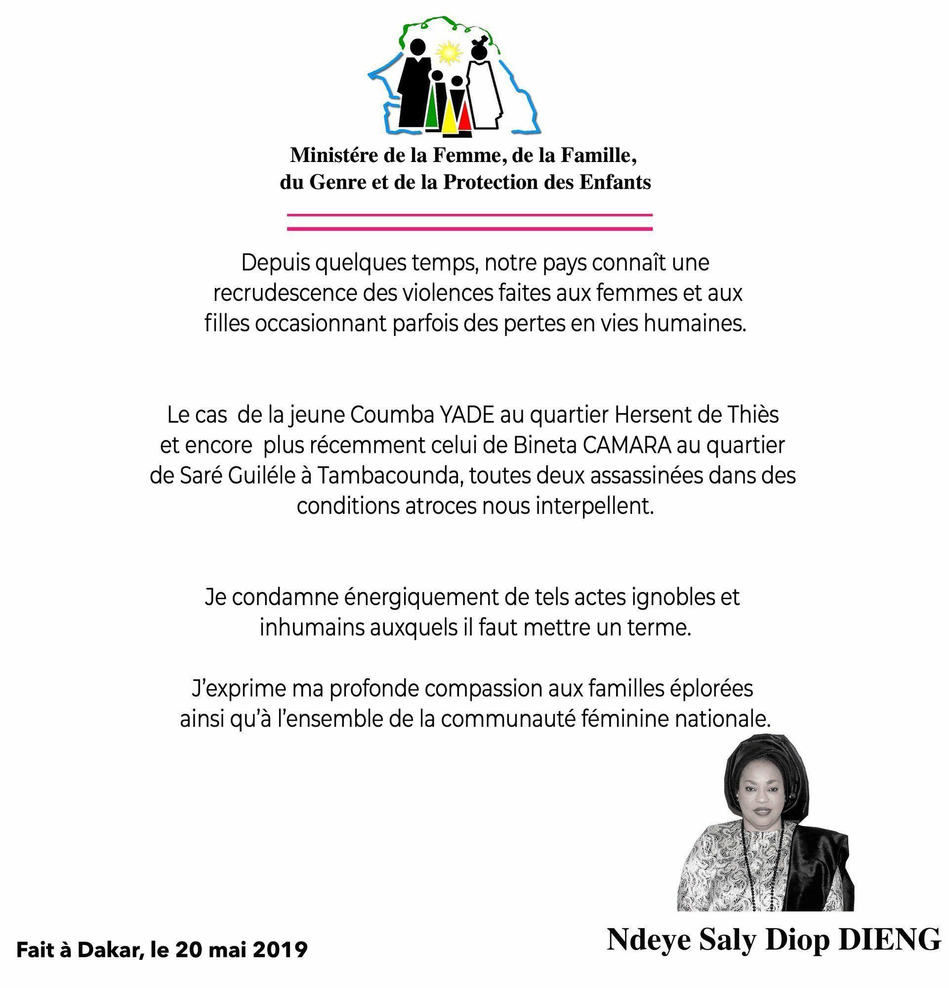 Communiqué diffusé le 20 mai 2019 par Ndèye Saly Diop Dieng, ministre sénégalaise de la Femme, de la Famille, du Genre et de la Protection des enfants. © Compte Twitter officiel de Mme Dieng.