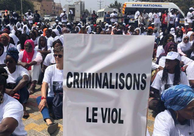 À la manifestation, le 25 mai 2019 à Dakar contre le viol et les violences faites aux femmes au Sénégal.