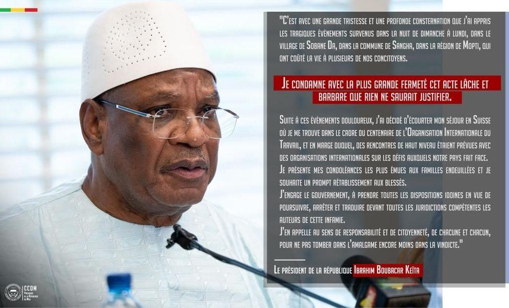 Déclaration d'Ibrahim Boubacar Keïta, le Président malien, sur l'attaque de Sobame-Da, dans la région de Mopti