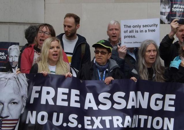 Manifestation contre l'extradition de Julian Assange vers les États-Unis