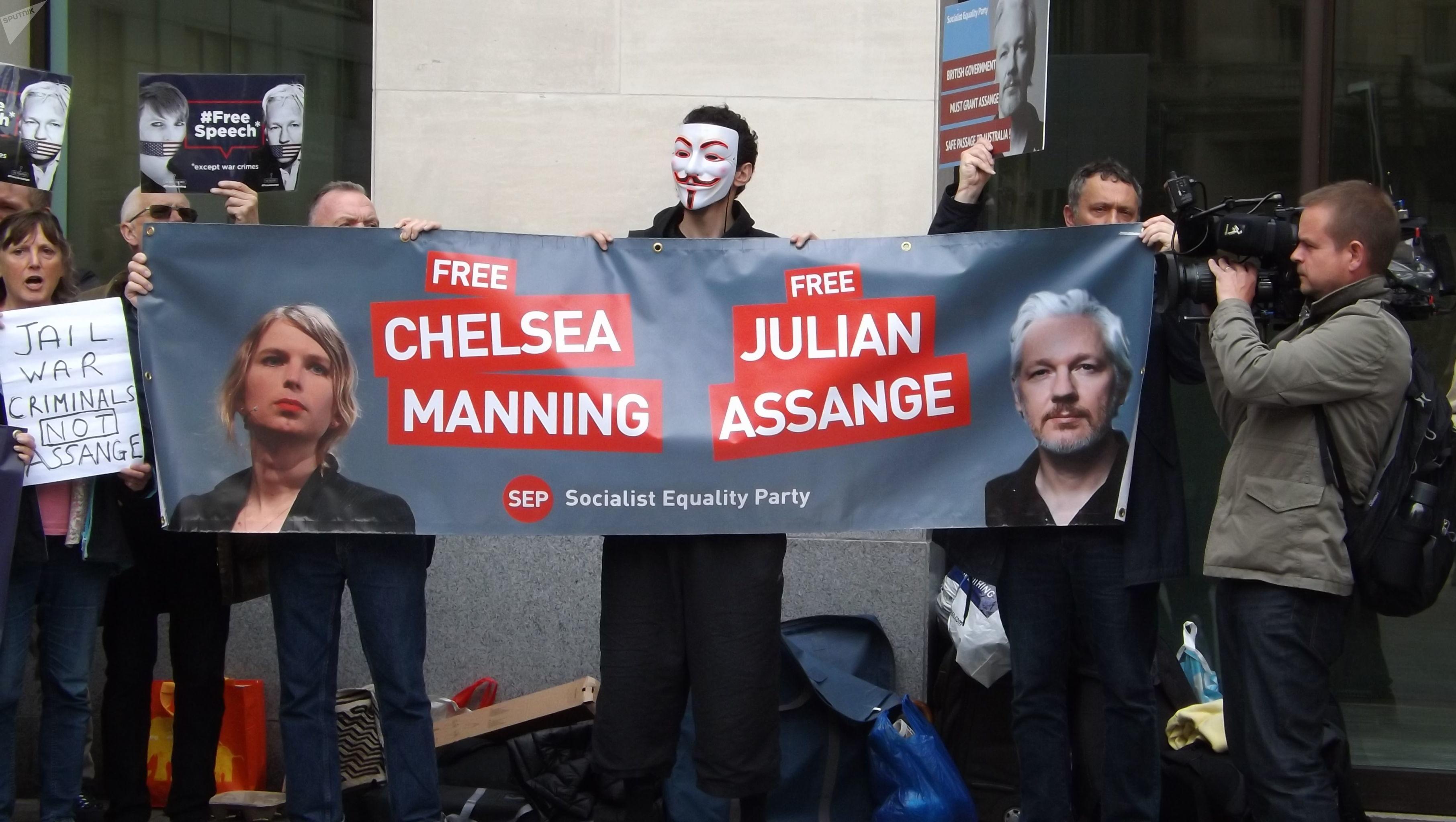 Протест против экстрадиции Ассанжа