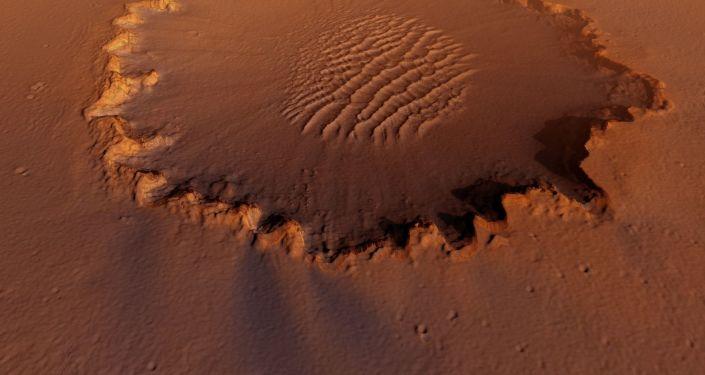 Un cratère sur Mars (image d'illustration)