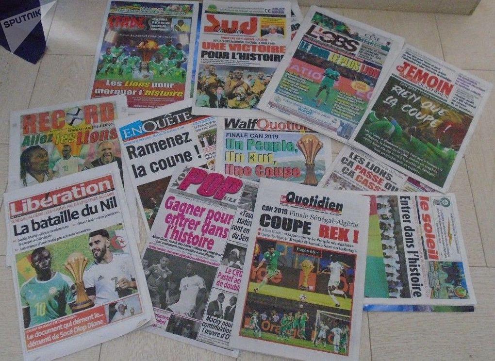 Titres de la presse sénégalaise du vendredi 19 juillet 2019, avant le coup d'envoi du match Sénégal-Algérie, finale de la CAN.