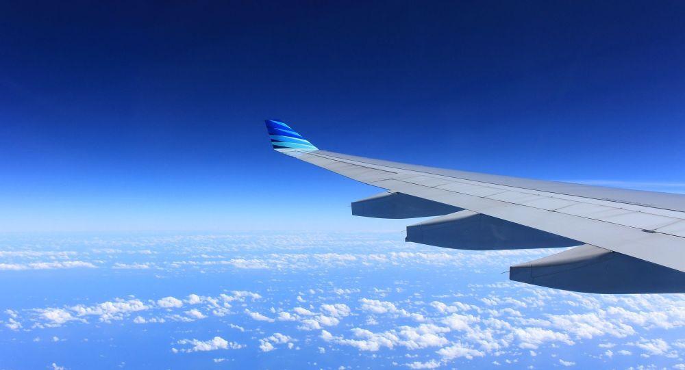 Un homme monte sur l'aile d'un avion quelques instants avant le décollage - vidéo