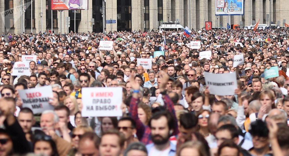 Un rassemblement massif pour la transparence des élections locales à Moscou, le 20 juillet