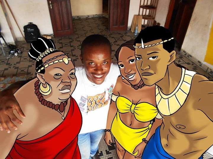 Claye Edou, entouré des principaux personnages de son film d'animation