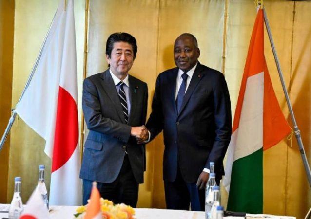 Le Premier ministre de Côte d'Ivoire Amadou Gon Coulibaly et le Premier ministre japonais Shinzo Abe à Tokyo, le 31 août 2019.