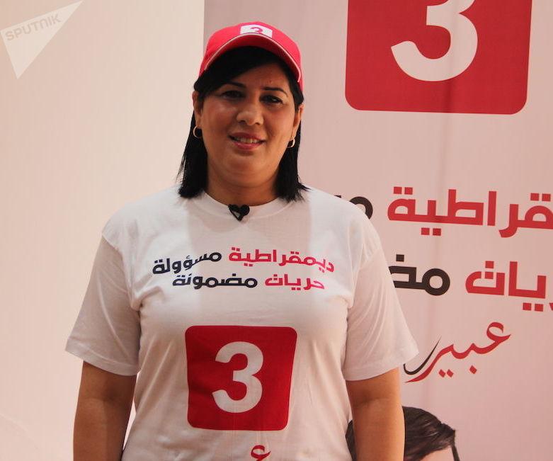 Abir Moussi, à son siège de campagne, à Tunis, le 6 septembre 2019 ©Safwene Grira