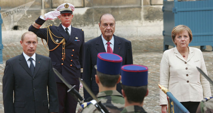 Vladimir Poutine, Jaques Chirac et Angela Merkel