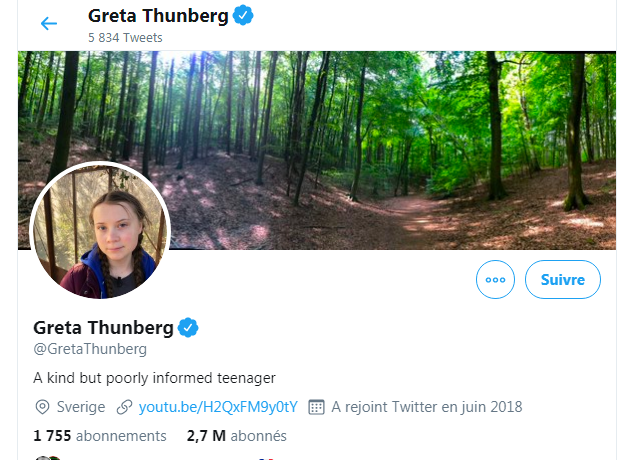 le profil Twitter de Greta Thunberg, capture d'écran