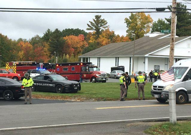 Une église de la ville américain de Palham, au New Hampshire, où un individu a ouvert le feu samedi 12 octobre