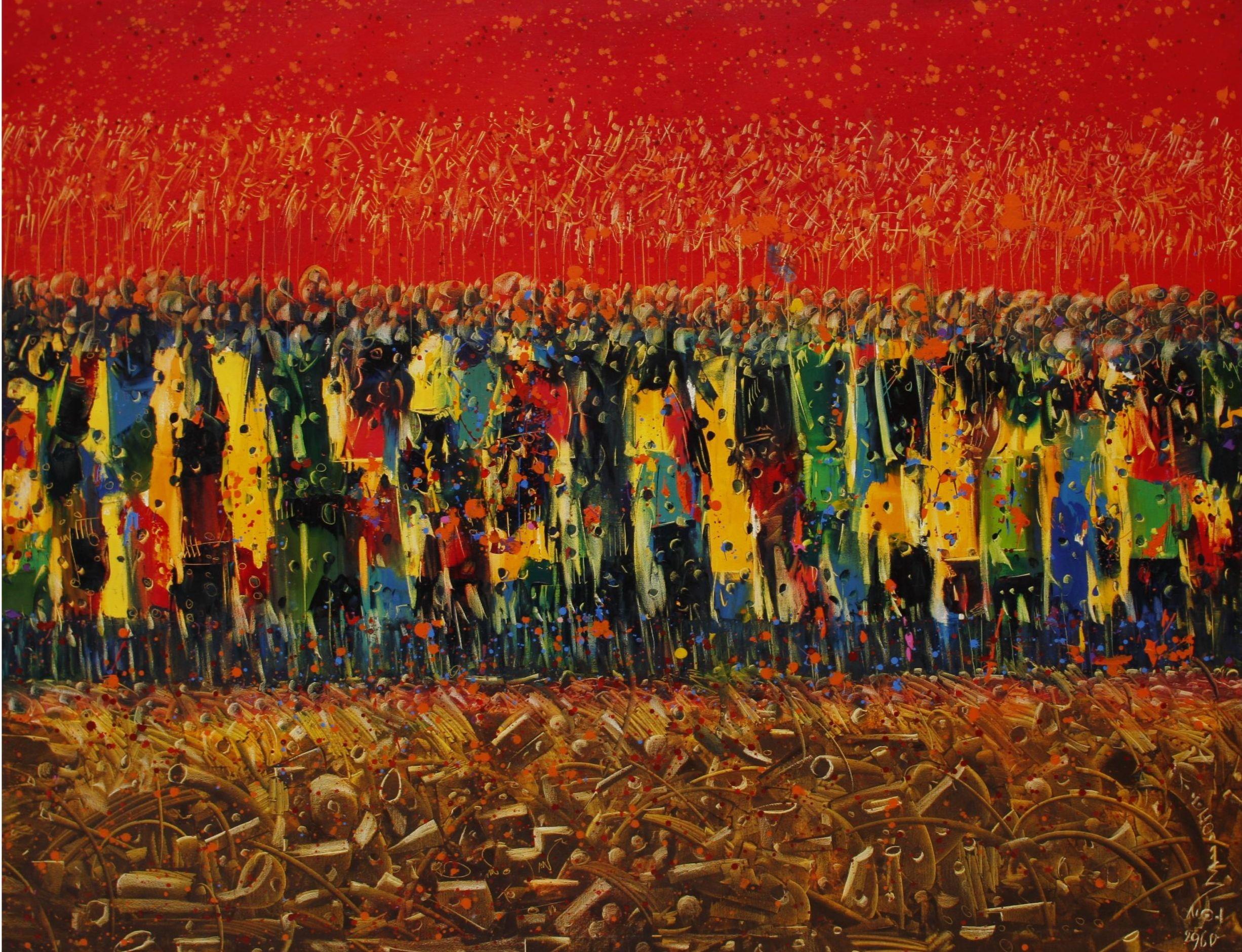 Chlag Amraoui, Tempête du printemps, huile sur toile, 180 x 150cm, 2009