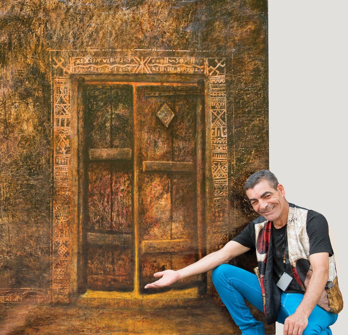 Le peintre Chlag Amraoui et son tableau Mémoire, huile sur toile, 180 x 150cm, 2017