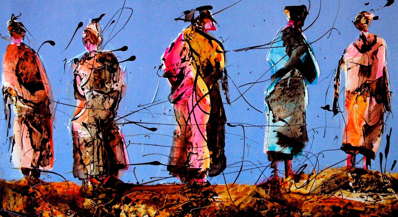 Chlag Amraoui, Danse et révolte, acrylique sur papier, 180 x 150cm, 2007