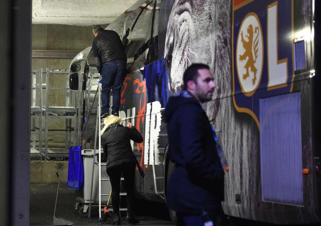 Le bus d'Olympique Lyonnais