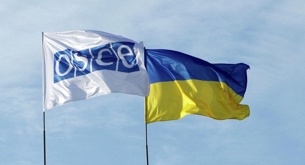 Les drapeaux de l'Ukraine et OSCE