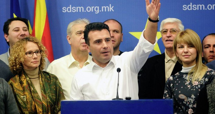Le leader de l'opposition macédonienne Zoran Zaev pendant une conférence de presse