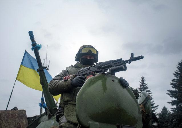 Un soldat ukrainien à Debaltsevo, dans l'est de l'Ukraine