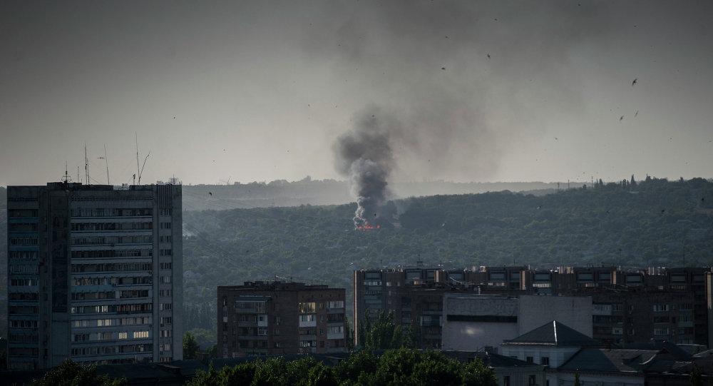 Lougansk après un bombardement