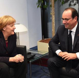 La chancelière allemande Angela Merkel et le président français François Hollande