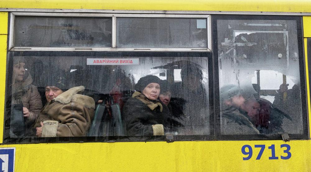 Les habitants de Debaltsevo évacués. 6 février 2015