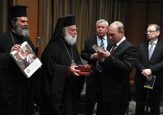 Rencontre du président russe Vladimir Poutine avec le patriarche Théodore II d'Alexandrie et de Toute l'Afrique