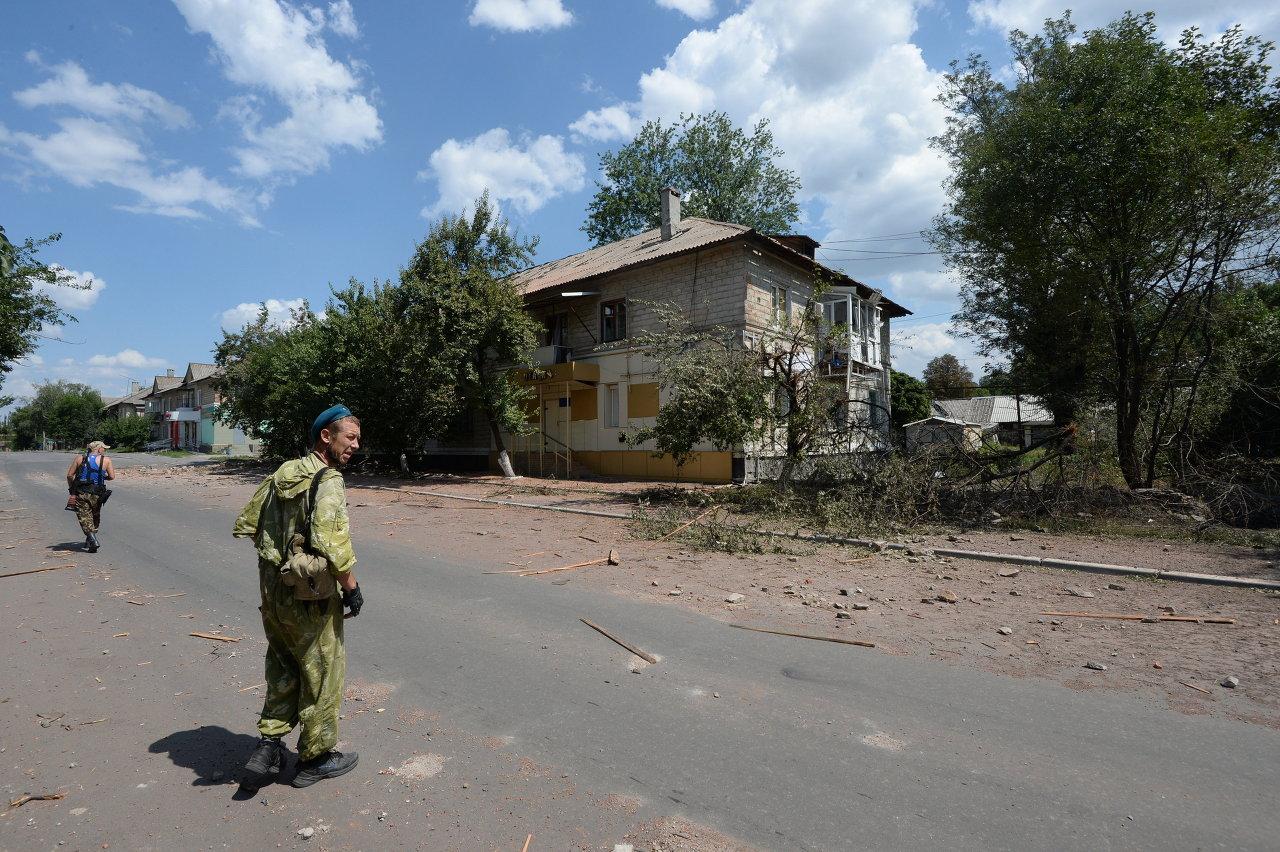 Chakhtersk après les raids de l'armée pro-Kiev