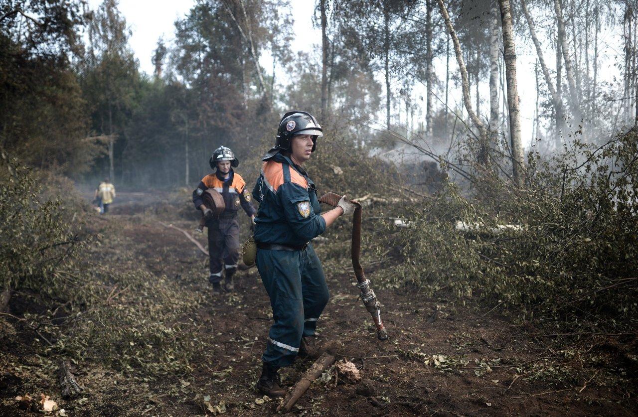 Des sapeurs-pompiers luttent contre un incendie de forêt dans la région de Tver