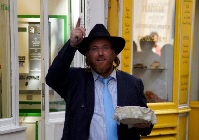 Quêteur pour la synagogue de la rue des Rosiers (Paris)