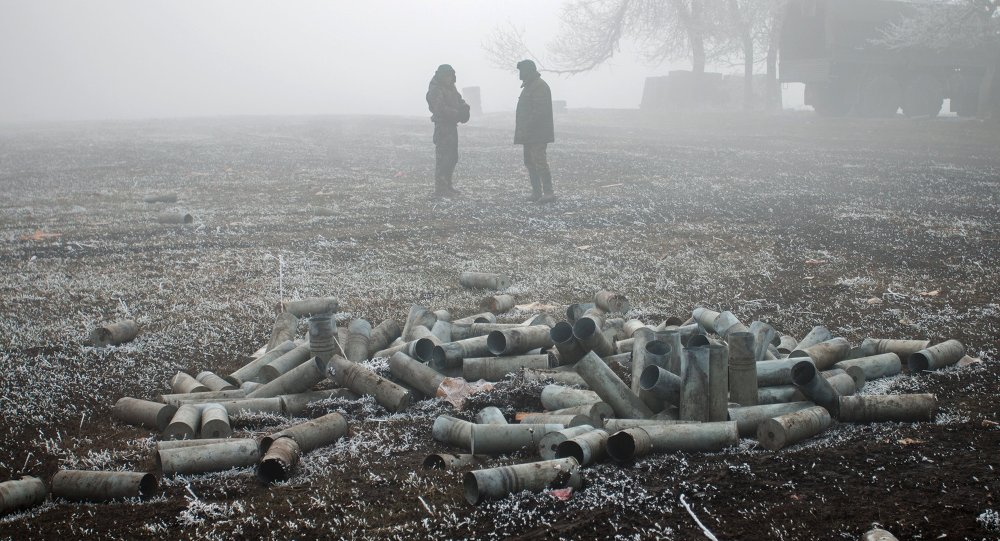 Les indépendantistes de la république autoproclamée de Donetsk (DNR) près de Debaltsevo