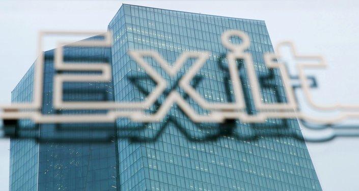 Un signe Exit sur le siège de la BCE