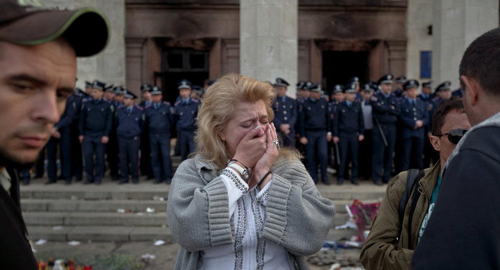 Près du bâtiment brulé à Odessa (Archives)