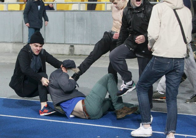 Les supporters du Dynamo Kiev pendant un match opposant Dynamo Kiev à Guingamp dans le cadre d'Europa League (26 février 2015)