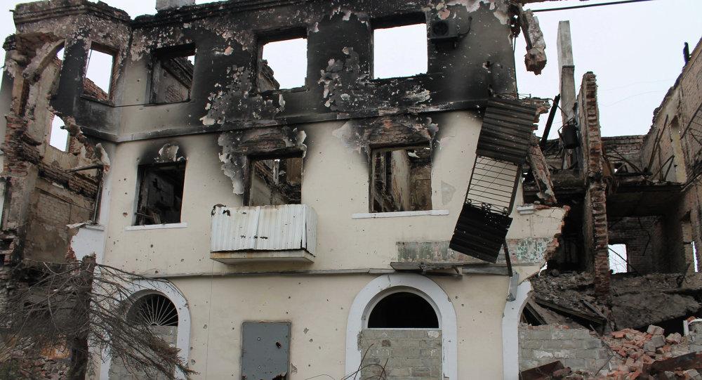 Maisons détruites dnas le Donbass