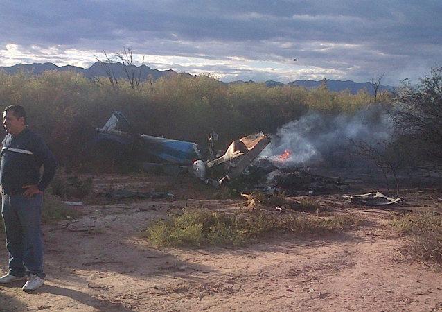 Le site du crash de deux hélicoptères près de Villa Castelli, en Argentine (9 mars 2015)