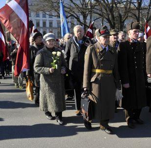 Défilé des anciens légionnaires des Waffen SS à Riga. Archive photo