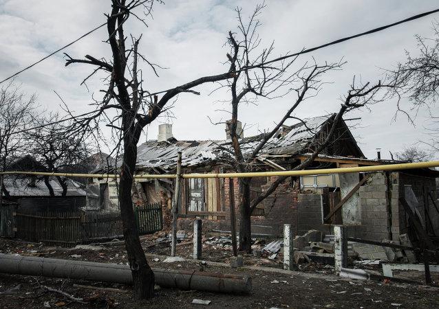 Un village détruit dans le Donbass (Archives)