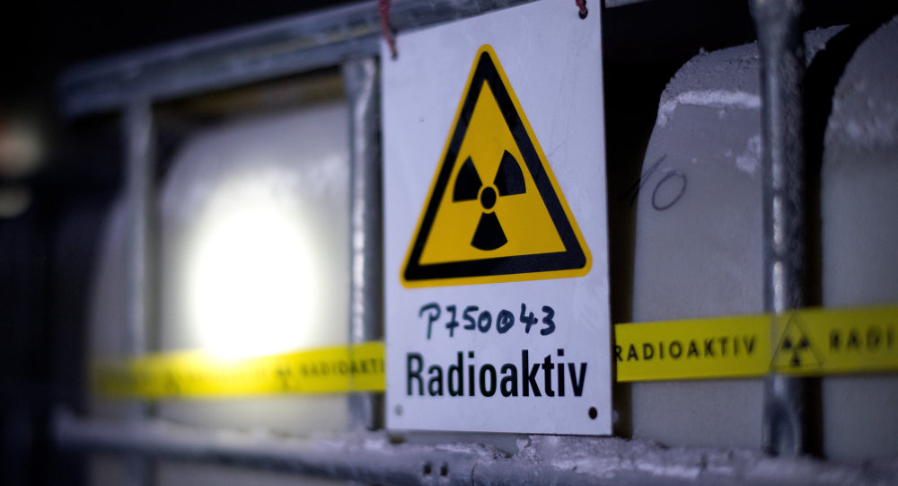 A tank containing radioactive water is seen at the Asse nuclear waste storage facility on March 4, 2014 in Remlingen, central Germany