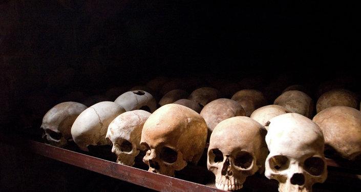 Crânes des victimes du génocide au Rwanda