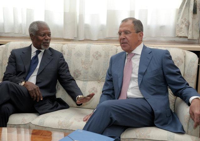 Sergei Lavrov et Kofi Annan. Archive photo