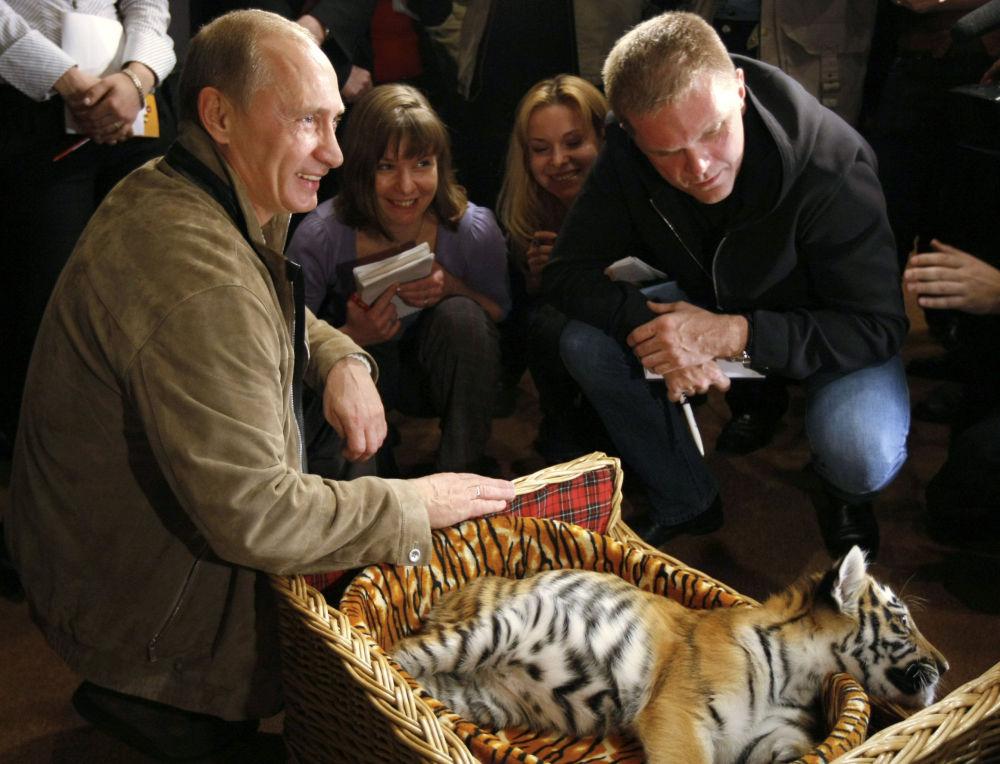 Le 10 octobre 2008, Vladimir Poutine a présenté une petite tigresse de Sibérie de deux mois et demi qu'il avait reçue comme cadeau d'anniversaire le 7 octobre