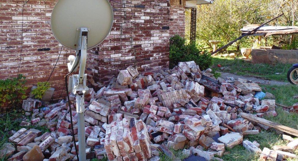 Maison endommagée lors du séisme en Oklahoma en 2011