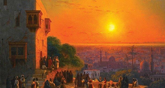Le tableau du peintre russe Ivan Aïvazovski, Un Soir au Caire (1870)