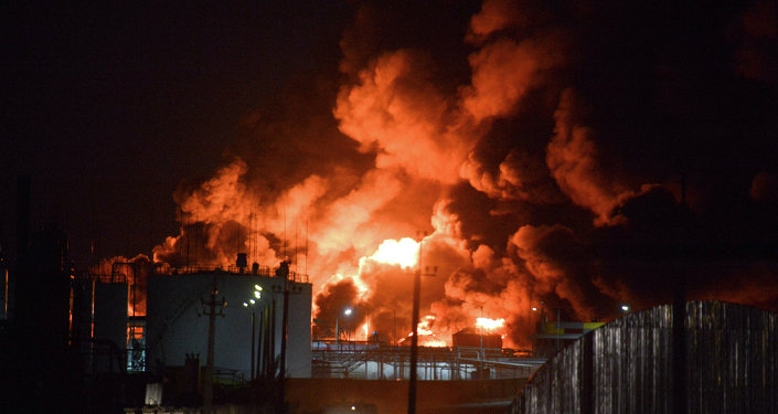 Incendie d'un dépôt pétrolier près de Kiev