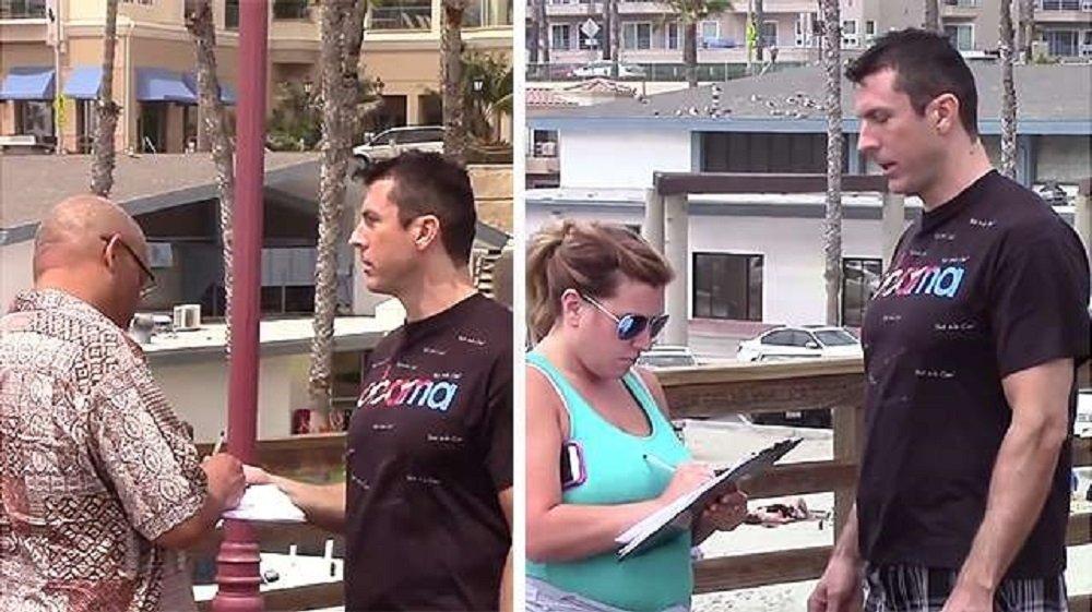 M.Dice propose aux gens dans la rue de signer une pétition approuvant une attaque nucléaire anticipée contre la Russie