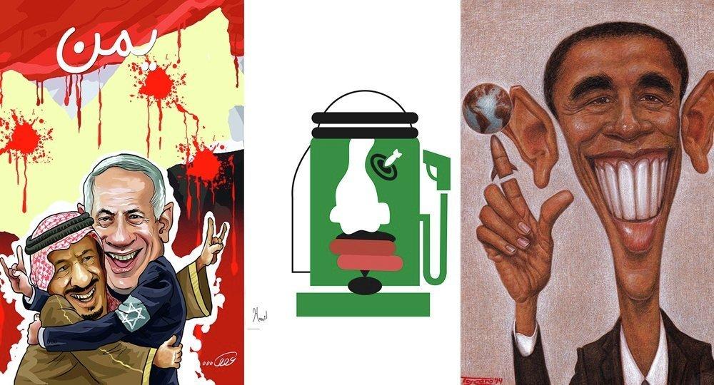 Caricatures sur les frappes de la coalition au Yémen