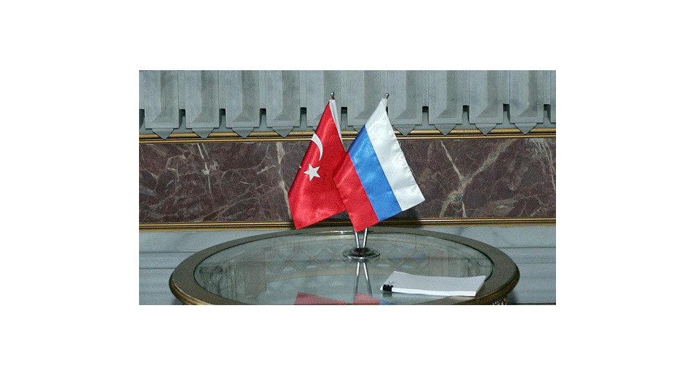 Drapeaux russe et turc