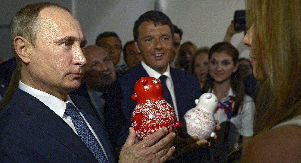 Vladimir Poutine et Matteo Renzi à l'EXPO-2015, Milan, Juin 10, 2015